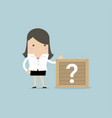 businesswoman standing beside unknown box vector image vector image