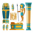 cartoon set ancient egypt objects vector image