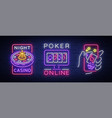 casino is a set neon signs logo collection in vector image vector image