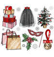 christmas and new year fashion set vector image vector image