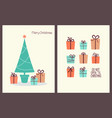 christmas greeting cards with presents vector image vector image