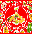 cinco de mayo card with mexican fiesta party food vector image vector image