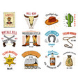 cowboy set badges wild west rodeo or indians vector image vector image