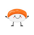 cute cartoon sushi character kawai sushi vector image