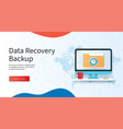 data recovery backup banner computer with folder vector image vector image