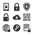 Digital encrypt technology security icons set