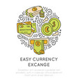 easy currency excange in travel icon concept vector image