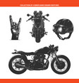 engraved style moto biker set for posters vector image vector image