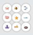 flat icon nature set of cancer shark scallop and vector image vector image