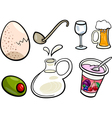 food objects cartoon set vector image