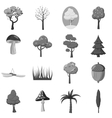 Forest icons elements set gray monochrome style vector image vector image