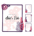 frames with colorful corals on white background vector image vector image