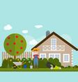 garden flat background farmer vector image vector image