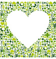 Green environmnet love icon set background vector image vector image