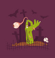green zombie hand rising out vector image vector image