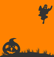 Halloween background with pumpkin and ghost vector image vector image