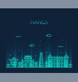 hanoi skyline vietnam linear style city vector image