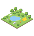 isometric 3d forest camp vector image vector image