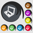 Laptop icon sign Symbol on eight colored buttons vector image vector image