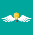 light idea bulb with wings vector image