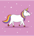 magic cute unicorn walking vector image vector image
