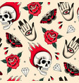 old school tattoo elements seamless pattern vector image