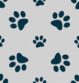 paw icon sign Seamless pattern with geometric vector image vector image