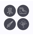 Pine tree bonfire and hiking boots icons vector image vector image