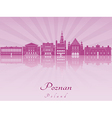 Poznan skyline in purple radiant orchid vector image vector image