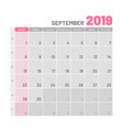 practical light-colored planner 2019 september vector image vector image