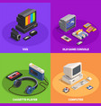 retro gadgets 2x2 isometric concept vector image vector image