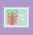 round gift box with bow merry christmas stamp vector image vector image