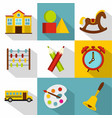 school equipment icon set flat style vector image vector image