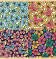 set beautiful seamless background with flowers vector image vector image