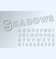 shadows line alphabet font template lines shadow vector image