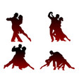silhouettes of four dancing couples vector image