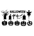 siluate halloween set vector image