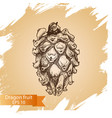 sketch - dragon fruit vector image
