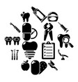 stomatology dental icons set simple style vector image vector image