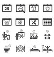 time calendar daily routine icons set vector image