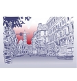 urban architectural sketch drawing of Italy road vector image