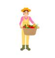 woman holding veggies basket vector image vector image