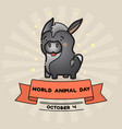 world animal day card with cute donkey and vector image vector image