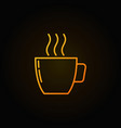 yellow coffee cup outline icon on dark background vector image vector image