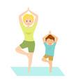 mom and son doing yoga vector image
