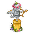 statue of little cupid with wings and golden bow vector image