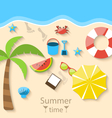 Summer time with flat set colorful simple icons on vector image