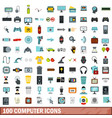 100 computer icons set flat style vector image vector image