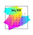 2020 calendar design abstract concept july 2020 vector image vector image
