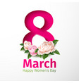 8 of march womens day peony flower vector image